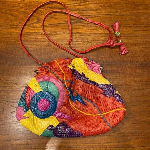 CARLO FIORI Snakeskin Leather Crossbody Bag